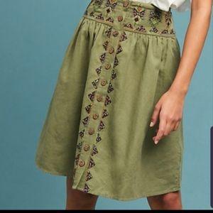 Maeve Anthropologie Green Midi Full Boho Skirt